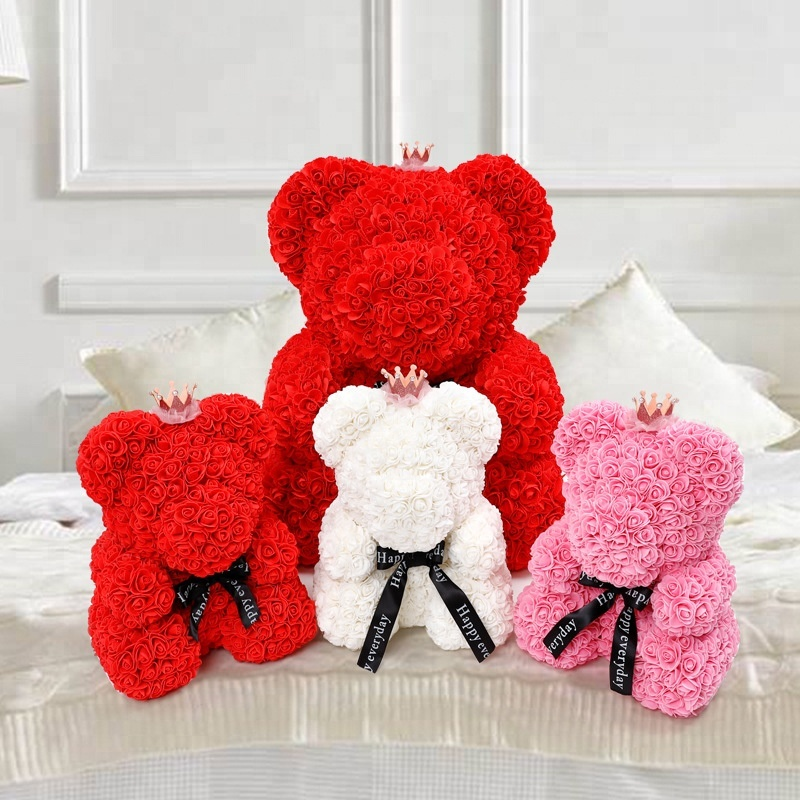Wholesale valentine gift High Quality hot sale rose bear <strong>flower</strong>