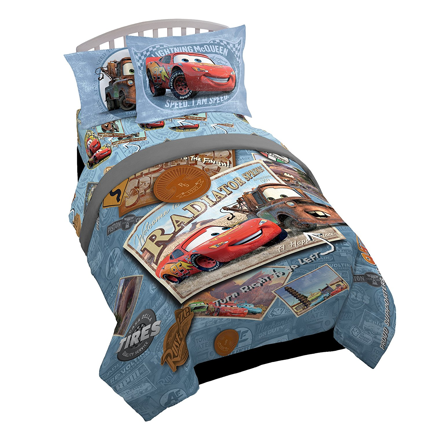 Disney/Pixar Cars Tune Up Blue/Gray 5 Piece Twin Bed In A Bag with Lightning Mcqueen & Mater in Radiator Springs (Official Disney/Pixar Product)