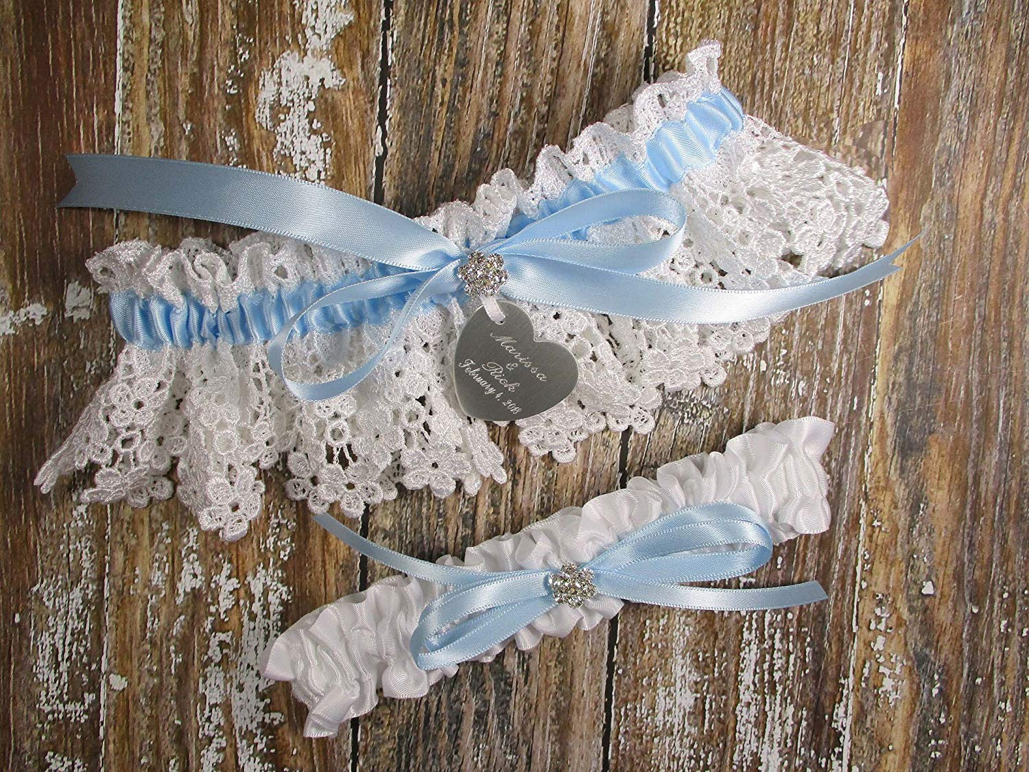 b6863ce33 Get Quotations · White Lace and Something Blue Wedding Garter Set with Personalized  Engraving