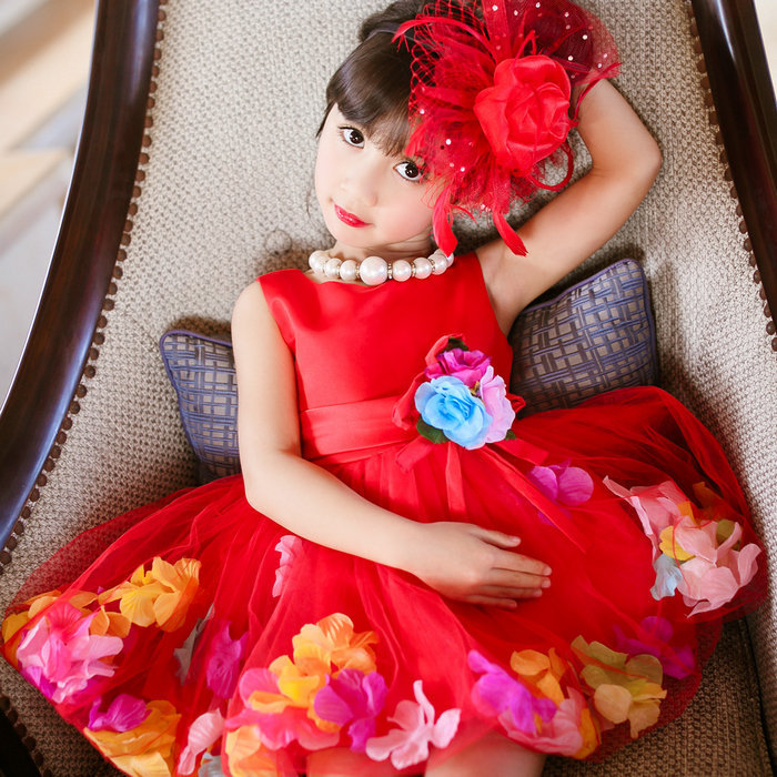 2016 Fashion Dress Baby Clothes Wholesale Flower Petal Chiffon Red ...