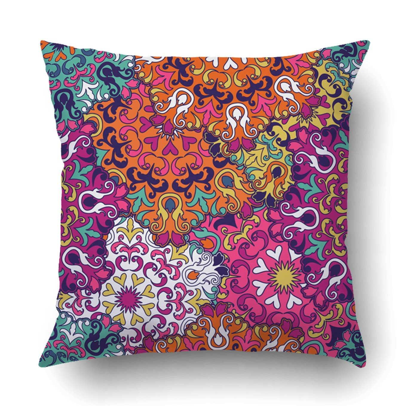Emvency Decorative Throw Pillow Cover Case for Bedroom Couch Sofa Home Decor Oriental pattern Islam Arabic Indian Turkish Pakistan Chinese Moroccan Ottoman Square 20x20 Inches Moroccan