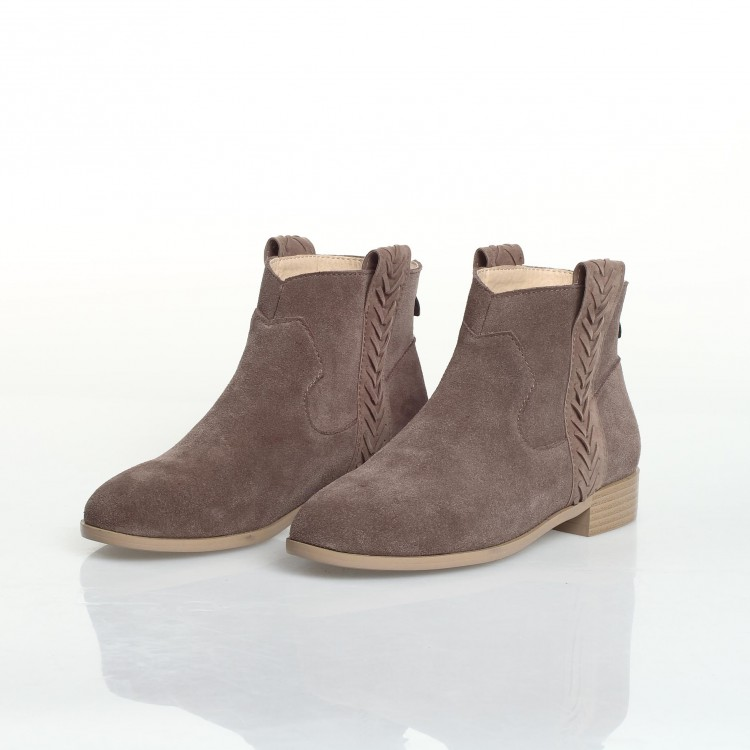 Gd Stylish Women Suede Leather Low Heel Ankel Boots Ladies Flat ...