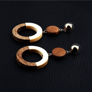 EA000123 yiwu vintage wooden wood rectangular geometric round color mixed earrings temperament girl wholesale