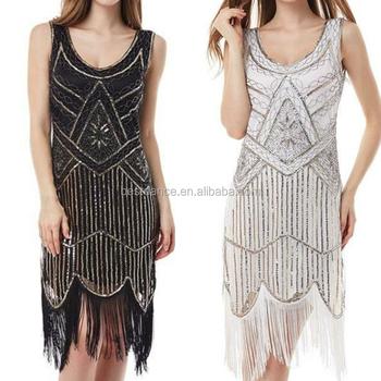 BestDance Women s 1920 s Vintage Gatsby Party Dress Bead Sequin Art Nouveau  Deco Flapper Fringe Dress Costume 381e7553b05b