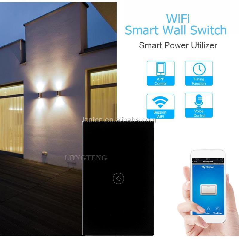 TuYa Smart Wifi Wand Touch Schalter US/EU/UK 1/2/3 Gang Glass Panel licht schalter Schwarz/weiß für smart home