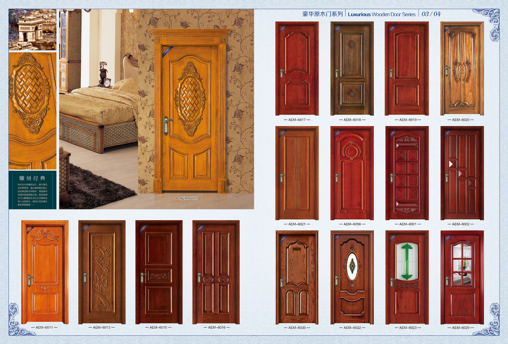Double leafs solid wooden main door design for house buy for New main door