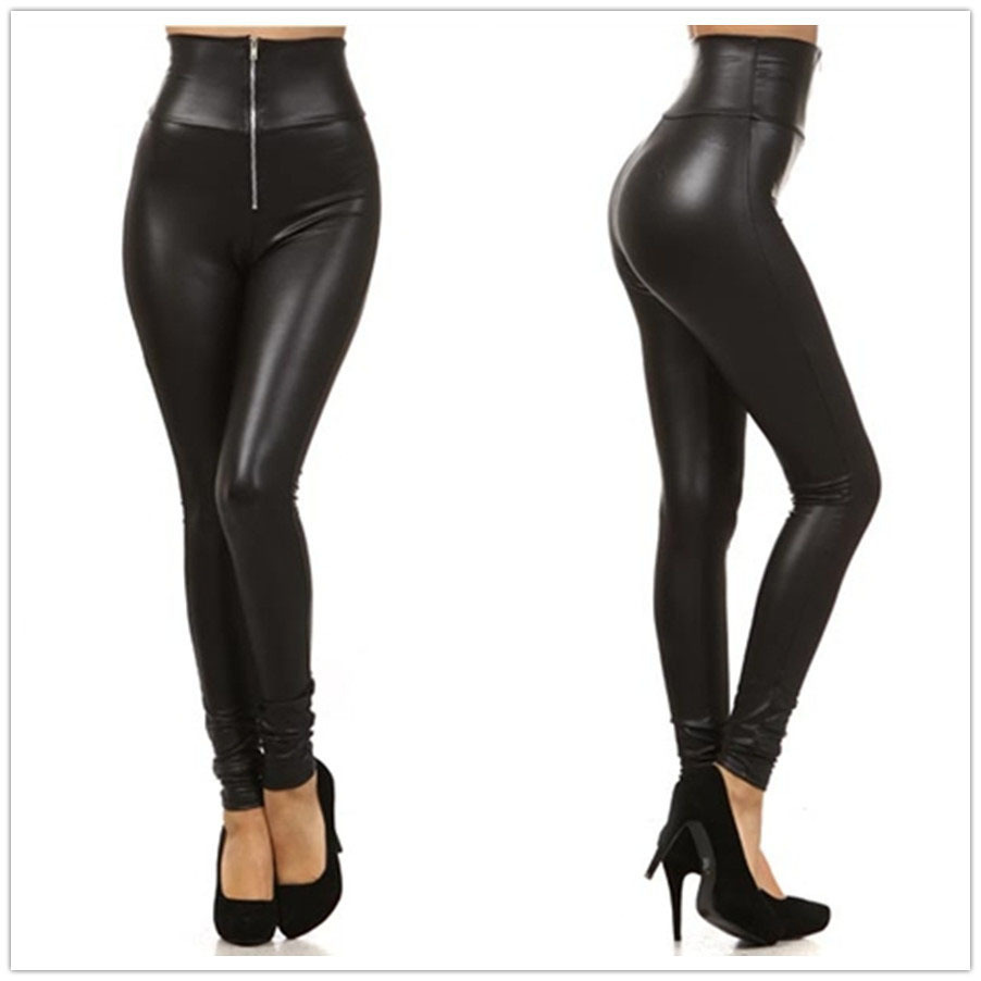 bfb7a865b5ff0a Get Quotations · Fashion Sexy women's Shiny Metallic High Waist Black  Stretchy tight plus size faux Leather Leggings/