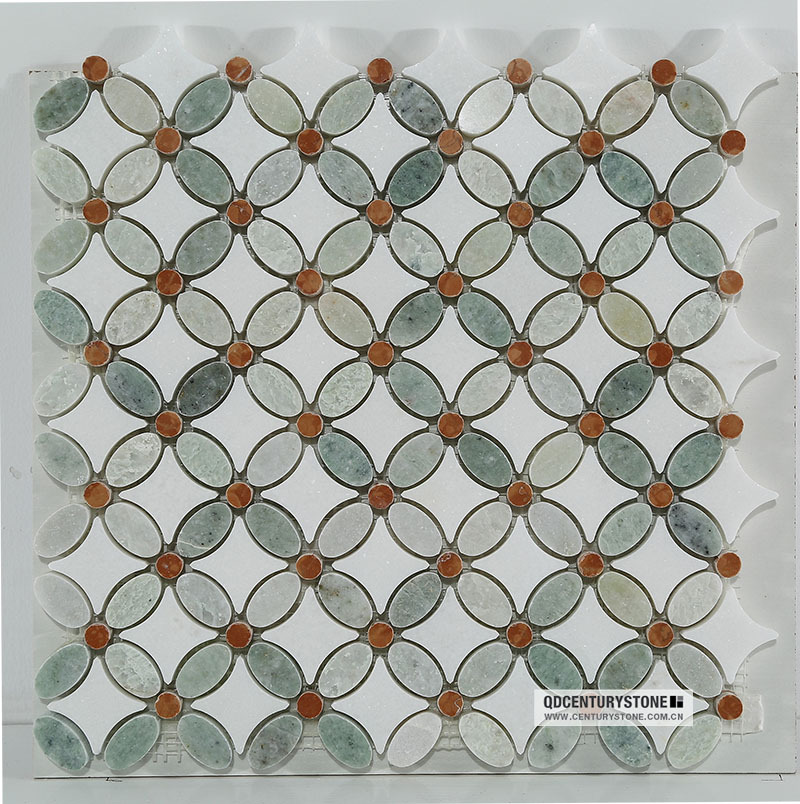 Polished White Thos Mix Red Green Marble Flower Mosaic Tile