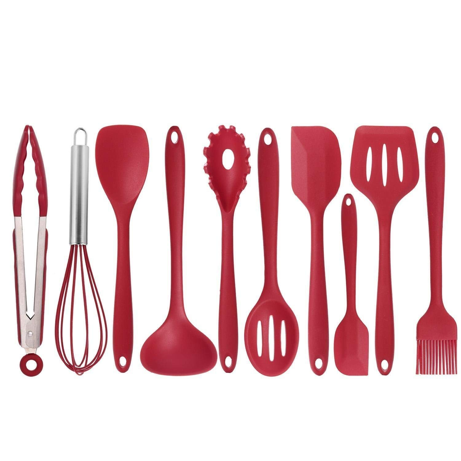 10Pcs/set Kitchen Vegetable Daily Useful Cooking Tools Non-Stick Utensils Pasta Fork Spoonula Tong Slotted Spoon (Red)