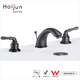 Haijun Super September Purchasing Lavatory Black Color Deck Mounted Hot Cold Water Mixer Taps