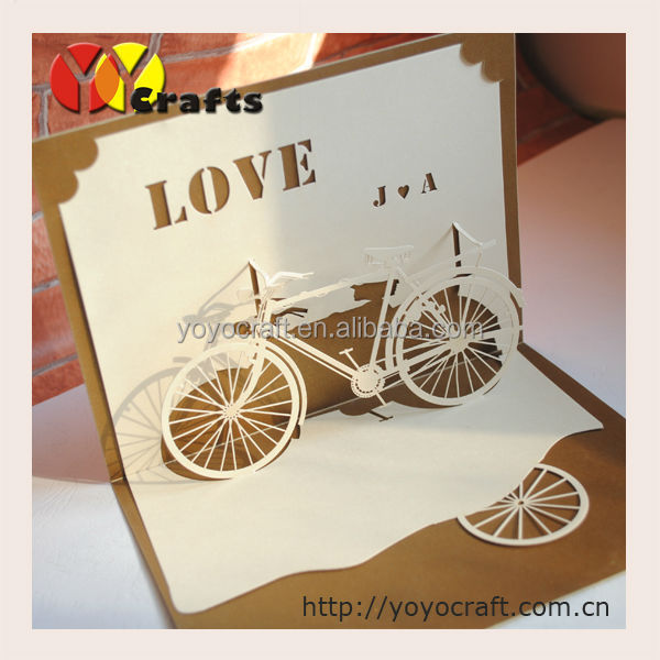 hot invitation card design  unique lace lase cutting love bike, invitation samples