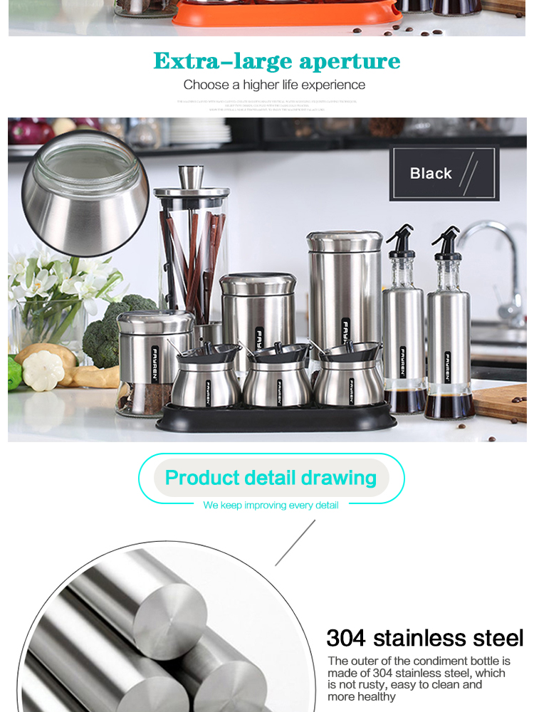 stainless steel glass seasoning mill & spice mill & pepper mill for kitchenware wholesale