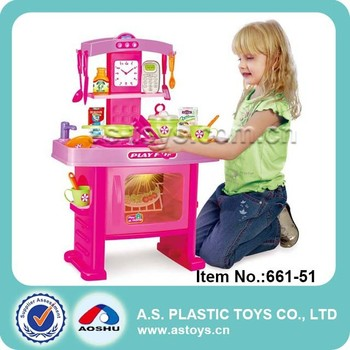 Play At Home girls play wonder pink plastic big kitchen set toy ...