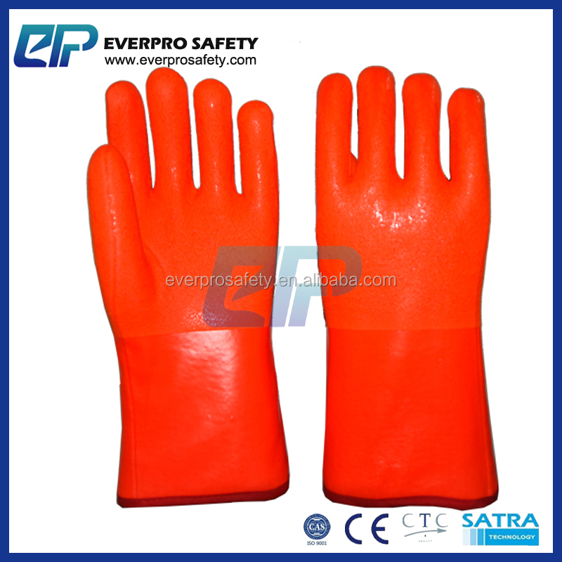 Hot Sale In Russia Cold Climate Jersey Interlock Napping Chemical Resistance Winter Used Orange PVC Gloves