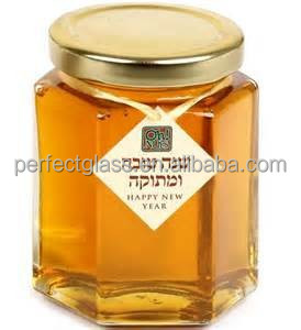Hexagon empty glass honey jar/honey glass container