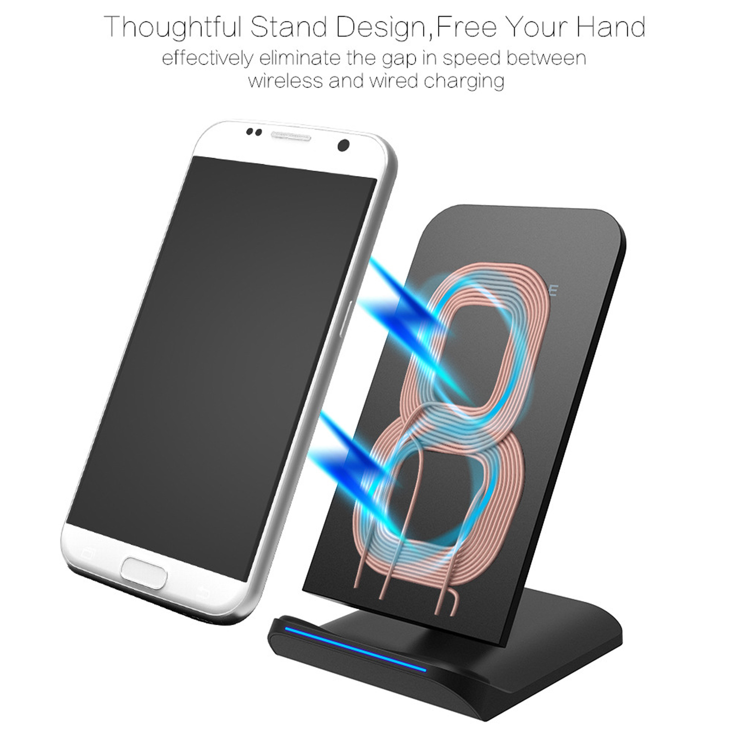 Fast Wireless Charger Cell Qi Charging Pad Stand For Samsung Original S8 Plus Galaxy Note 8