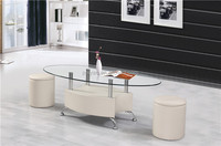 Modern leather european style lift top coffee table with stools