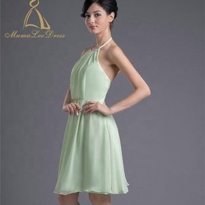 1f283c0cc202 Zipper Back Knee Length Chiffon Halter Green Short Bridesmaid Dresses  Chiffon Western Maid Of Honor Dress