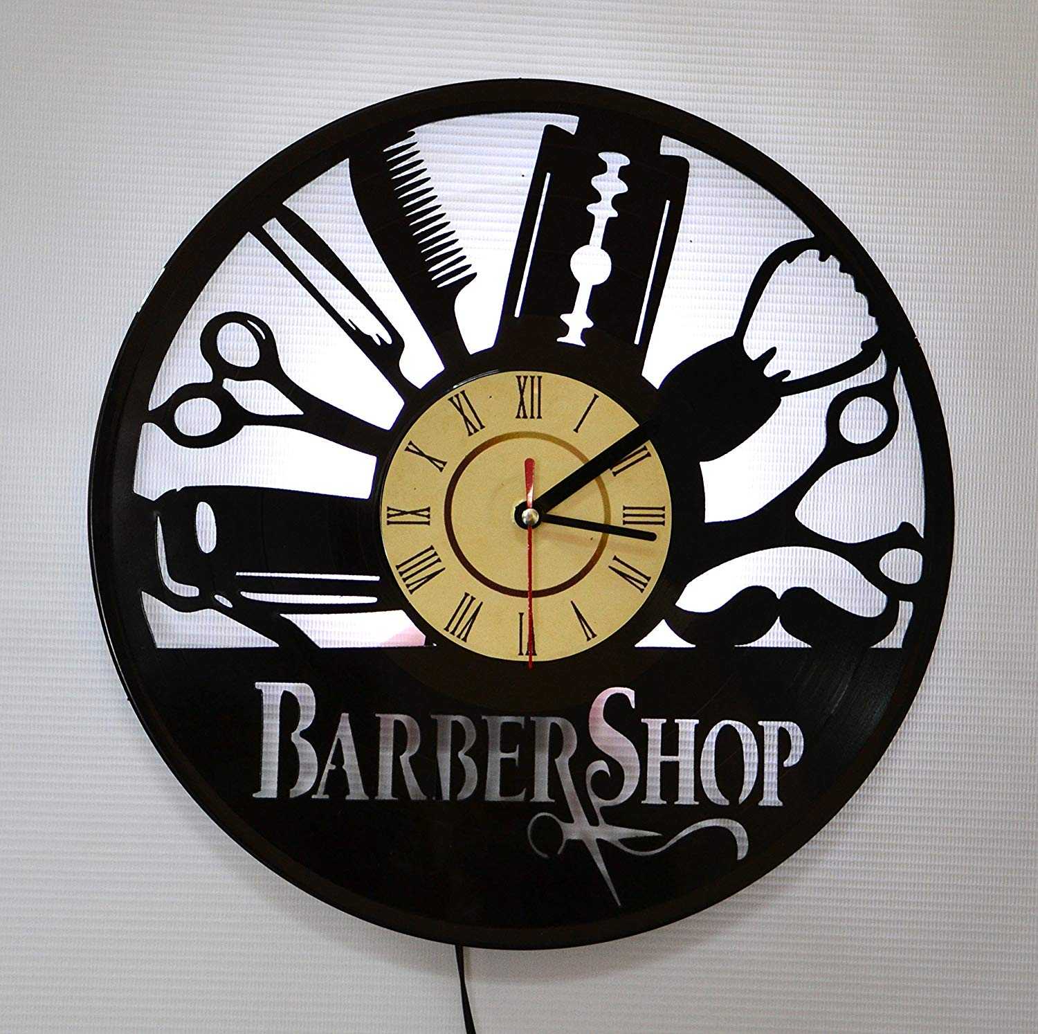 Barber Shop Hairdresser LED Backlight Vinyl Wall Clock Night Color Change Atmosphere Light Lamp Creative Classic Cool Living Room Interior Decor Led Time Clock With Color White Light