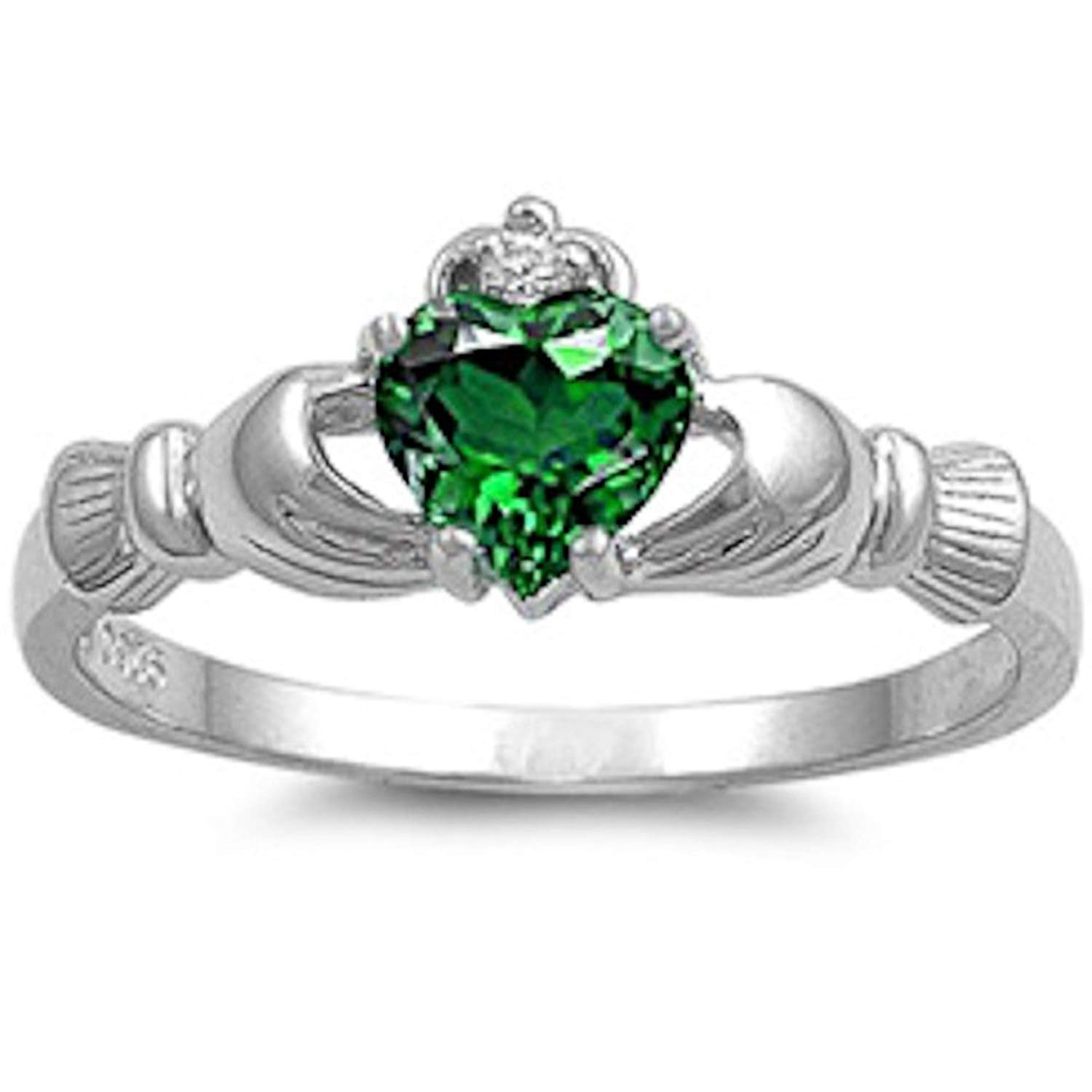 2e5701e69 Get Quotations · Irish Claddagh Lab Created Emerald 925 Sterling Silver Ring