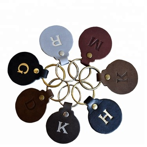 Simple Design Hot Wholesale Promotional Use Cheap PU Leather Round Keychain