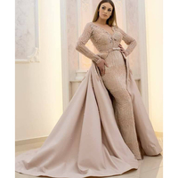 Long Sleeve Muslim Women Dress Evening Gowns Mermaid Luxury Lace Beaded with Overskirt Ladies Formal Prom Dress 2018