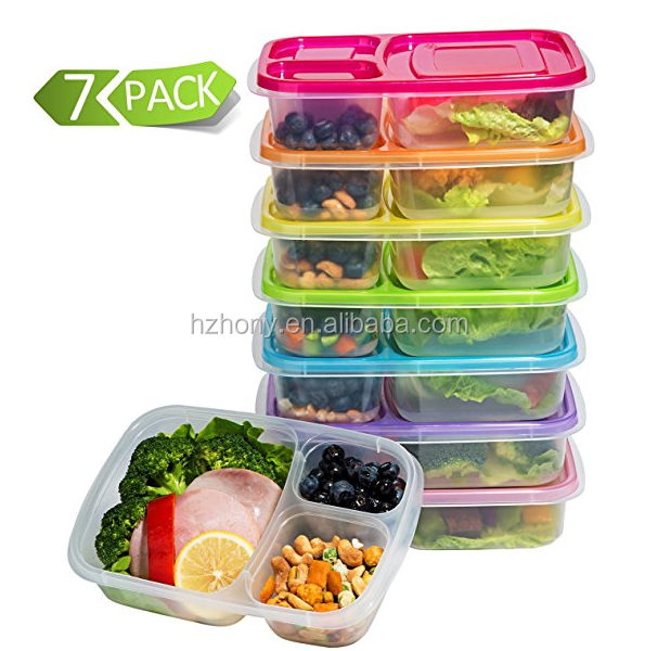 Portable Bento Box Plastic Lunch Box Food Container Set With 3-Compartment New