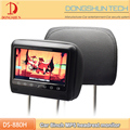 High resolution 8 inch car headrest TFT LCD monitor with MP5 player,USB,HDMI,touch key and pillow