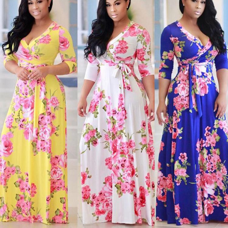 Venta al por mayor vestidos de moda con patrones-Compre online los ...