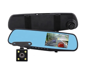 New Fashion Dash camera 4.3 Inch Dual Lens Video Recorder Rearview Mirror Car Camera 1080P HD Car DVR