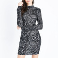 China Supplier Black Lace Long Sleeve Ladies Lace Sexy Dresses Bodycon