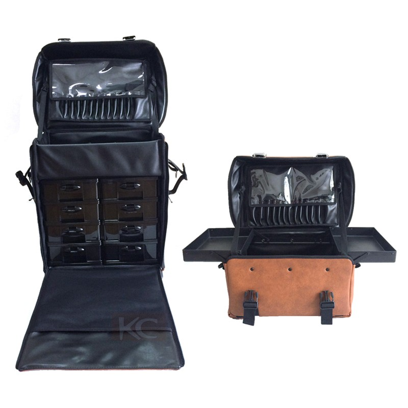 Makeup artist cosmetic case , professional trolley soft pu leather cosmetic case