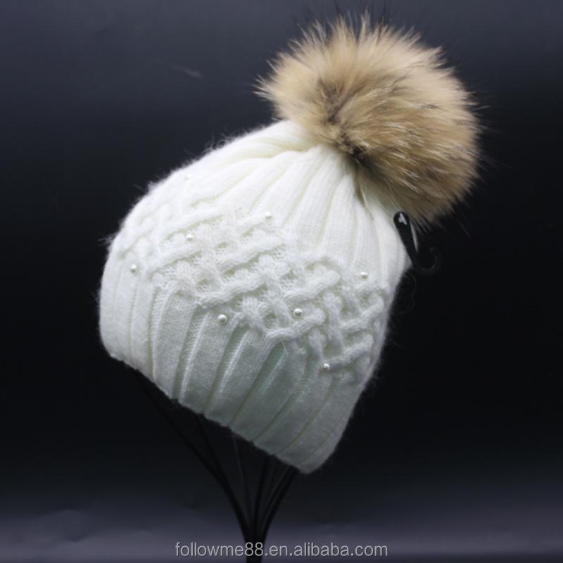 375e3ed8d0b Women Fur Pompom Hat Ladies Winter Pearl Beanie Hats Rabbit Fur Blend  Knitted Caps Brand Female Thick Cap