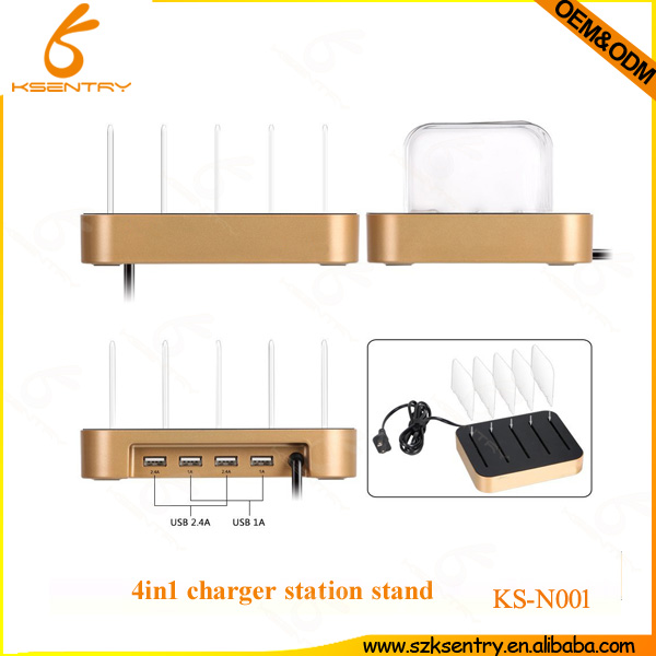 Multi Device Charging Station/Smart 4-Port Desktop USB Charger Charging Station Dock with Stand Holder for iPhone iPad Samsung S