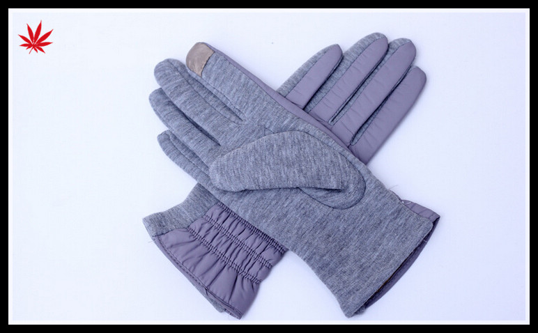 ladies grey feather cloth touch finger hand gloves