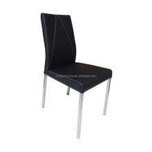 Banquet Four Stainless Steel Legs Black PU Leather White Stitching Dining Chair