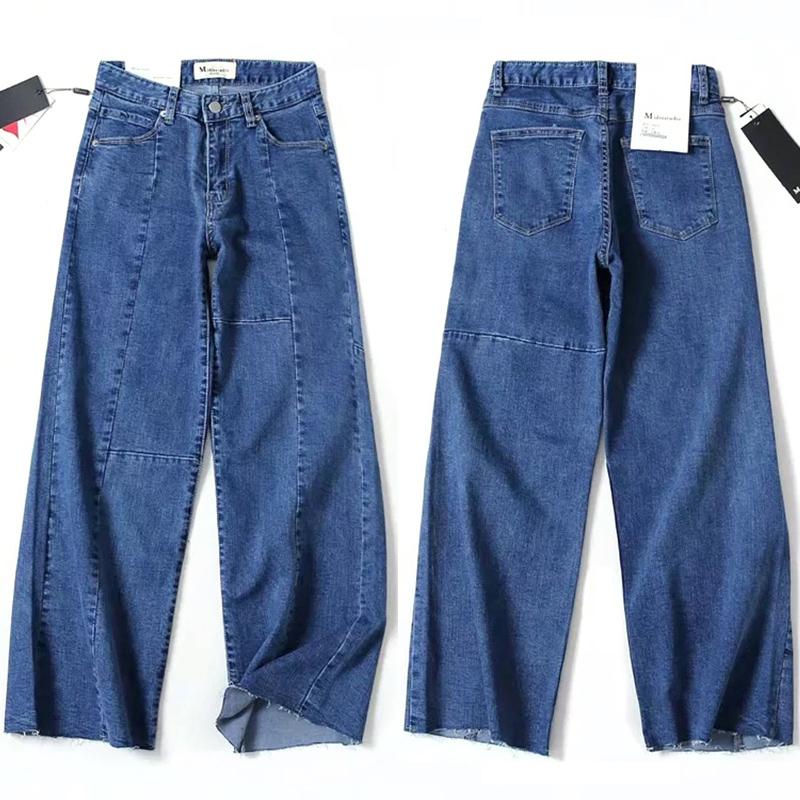 2019 Denim pant Trousers high waist Loose Hem High Quality Casual Lady jeans