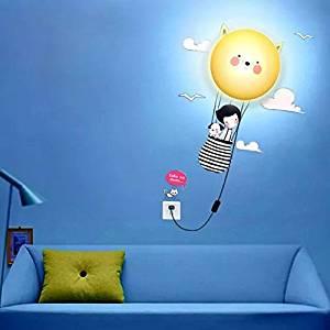 Alrens_DIY(TM)Novelty Cartoon DIY 3D Wallpaper Wall Stickers Home Room Decor Decoration LED Night Light Lamp for Kids' Bedroom (Cat's Journey)