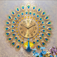 Luxury Home Decor Metal Wall Art Wholesale Peacock Wall Mounted Clock
