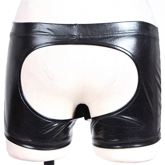 Mens Wetlook Faux Leather Boxer Shorts Underwear Open Hip Crotchless Male Gay Leather Sexy Trunks Boxers Panties Underpants