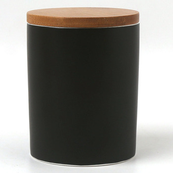 340ml 12oz Black Color Glazed Coffee Tea Canister With Bamboo Lid Silicone Ring Airtight Sets