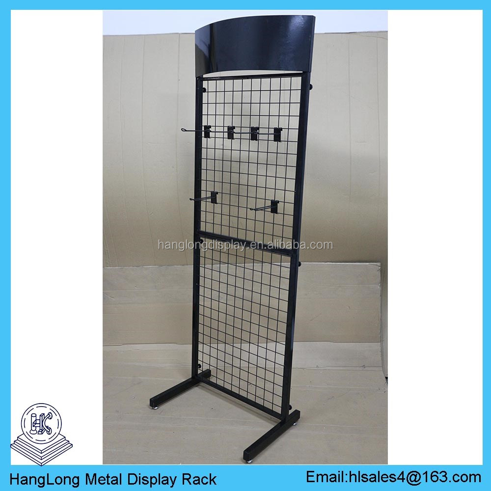 Free Standing Metal Wire Grid Mesh Display Panels Shelf