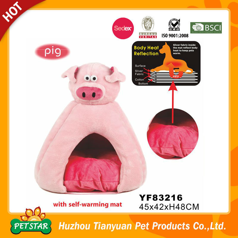 2016 New Arrival Professional Silver Fabric Inside Pink Pig Cave Bed Cat and Dog