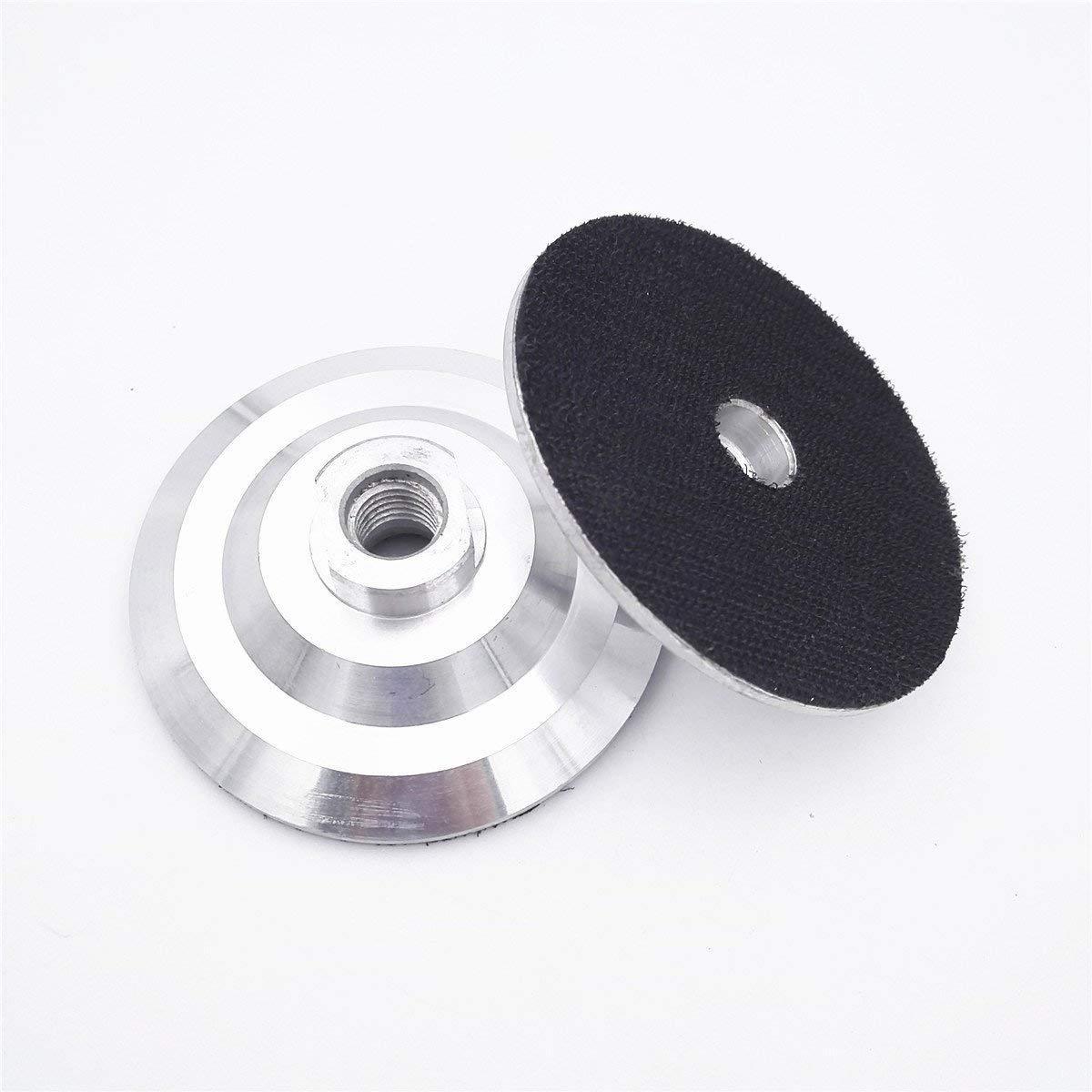 6 Pieces 4 INCH Aluminum based backer Back pad for diamond polishing pads 5/8-11 Thread Velcro backing pad with flexible Nylon Buckle backup pad Hook&Loop Backing Pad Hard Backing Pad grinder polisher