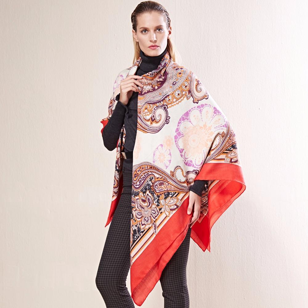 トップ品質55%カシミヤ45%シルク高級ブランド冬スカーフ