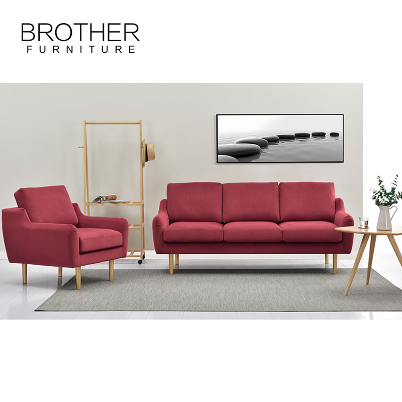 New design BROTHER furniture fabric living room 3 seater sofa