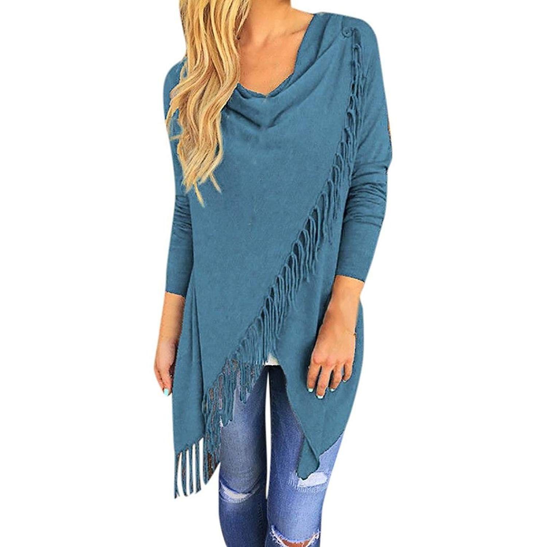 Clearance Sale! Wintialy Women Long Sleeve Tassel Hem Crew Neck Knited Cardigan Blouse Tops Shirt