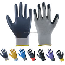 13gauge polyester palm coated cheap nitrile gloves