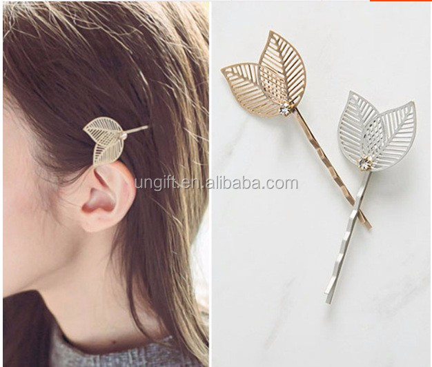 Gold Leaf Hair Cuff Clip Jewelry Hairpin Womens Accessories Small leaves hair clips