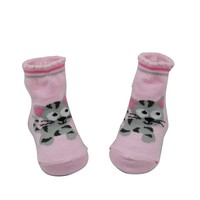 GSB-27 Bulk custom fashion cat design pink baby socks knitting